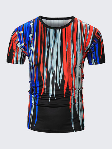 Mens Fashion 3D Printed Short Sleeve O-Neck Polyester Casual T-Shirt