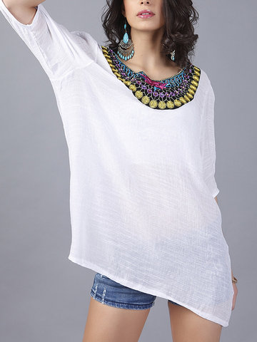 Loose Folk Style Embroidery 3/4 Sleeve Women T-Shirts