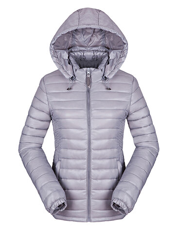 Brief Warm Pure Color Removable Hood Down Jacket For Women