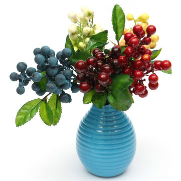 Artificial Floral Berry Flowers Leaf Simulation Home Table Craft Decoration
