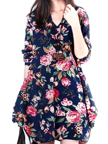 Vintage Floral Printed V Neck Asymmetry Hem Long Sleeve Loose Women Dress