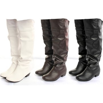 Women PU Leather Casual Knee High Boots