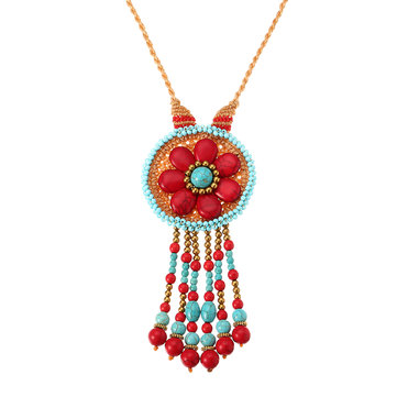 Women's Ethnic Bohemian Beads Flower Turquoise Tassel Necklace