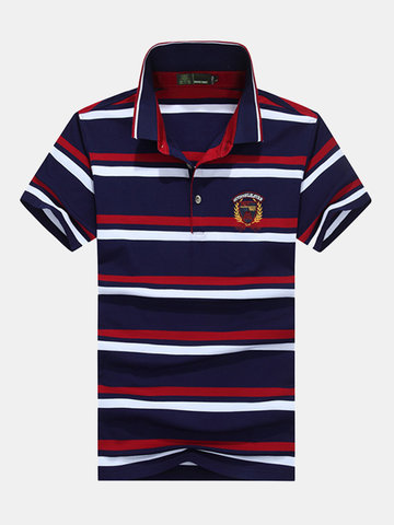 Mens Striped Printed Casual Tops Turn-down Collar Short Sleeve Business Polo Shirt