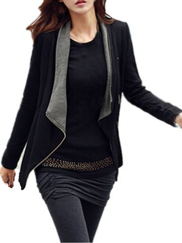 Leisure Women Loose Matching Side Zipper Short Jacket