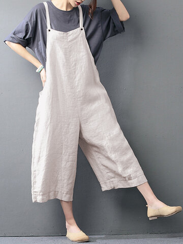 O-NEWE Casual Loose Pure Color Strap Pocket Wide-legged Jumpsuits