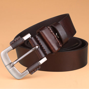 Mens Vintage Personality Hollow Genuine Cowhide Leather Belt Casual Pin Buckle Waistbands