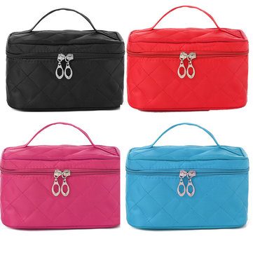 5 Colors Portable Zipper Cosmetic Storage Bag Lattice Travel Case