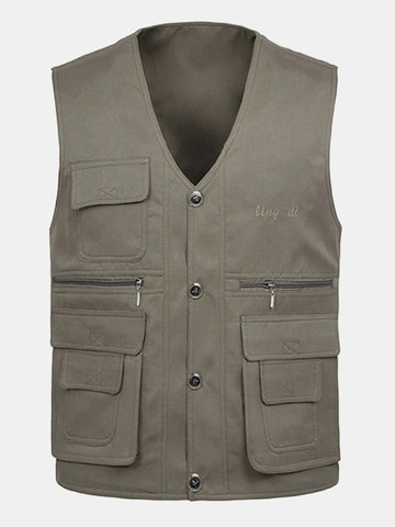 Outdoor Multi-Pocket Fishing Vest Casual Loose Waistcoat Coats Men