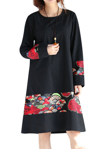 Ethnic Style Women Printed Long Sleeve A-Line Dress