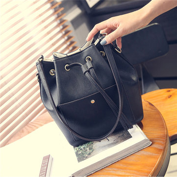 Women Casual Stylish Draw String Bucket Bags Shoulder Bags Crossbody Bags