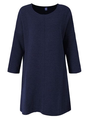 Casual Solid O-Neck Knitting Pocket Sweater Dresses For Women