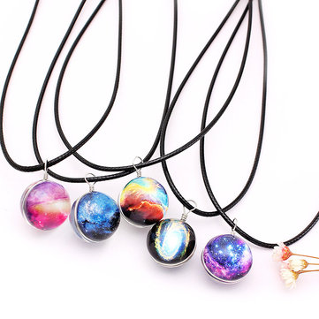 galaxy planet glass charm necklaces