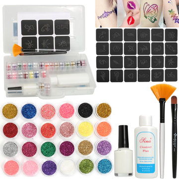 24 Colors Glitter Diamond Tattoo Kit Powder Temporary Hollow Pattern Body Art Design Set