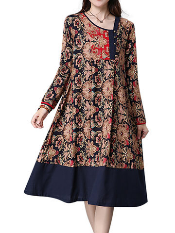 Contrast Patchwork Ethnic Printed Button Pleated Long Sleeve Women Dresses