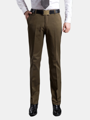 Mens Fall Winter Thick Cotton Trousers Comfort High Waist Straight Leg Casual Pants