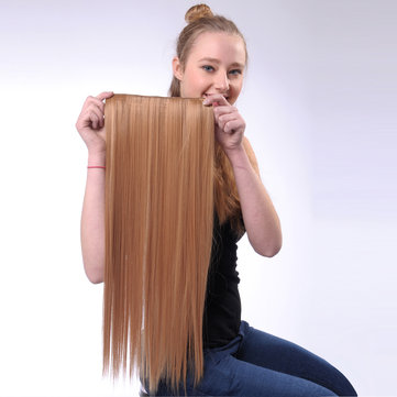 1Pc Clips Synthetic Long Straight Clip in Hair Wig Extensions Hairpiece for Women 60cm