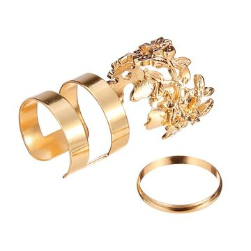3pcs Hollow Out Leaves Band Midi Knuckle Rings Set