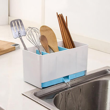 Kitchen Double Partition Drain Storage Box Tableware Rack Sub-grid Hole Dinner Containers ... & Kitchen Storage u2013 Happy Earth Gadgets