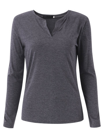 Women Casual V Neck Pure Color Long Sleeve Blouse