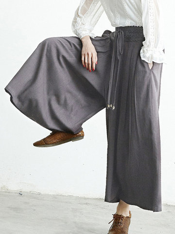O-NEWE Loose Crochet Elastic Waist Wide Leg Pants For Women