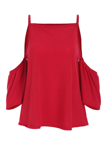 Sexy Cold Shoulder Cami Solid Color Blouse For Women