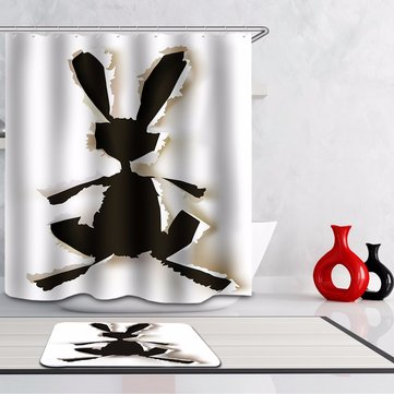 180x200cm Rabbit Hare Cut Out Silhouette Polyester Bathroom Shower Curtain With 12 Hooks