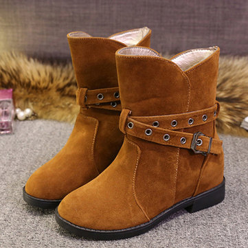 Buckle Strappy Ankle Heel Increasing Short Casual Boots