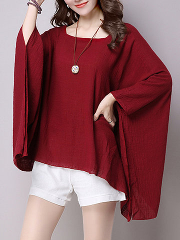 Loose Solid Batwing Sleeve Blouse
