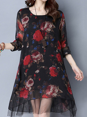 Vintage Women Long Sleeve Floral Printed Fake Two Pieces Dresses