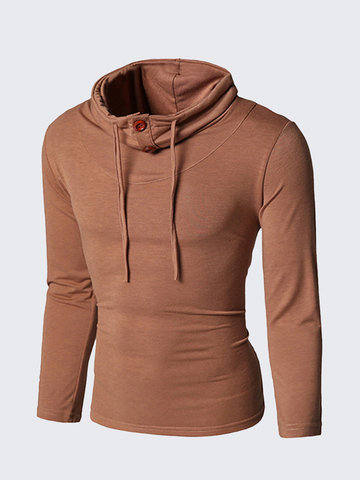 Autumn Fashion Solid Color Buttons Tether Stand Collar Long Sleeve T-Shirt For Men