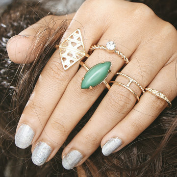 Vintage Steampunk Gemstone Knuckle Rings Mix Finger Midi Ring Set for Her Boho Jewelry