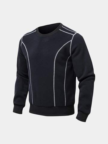 Casual Fashion Splicing Color Pullover Sweatshirts O-Neck Long Sleeve Tops for Men