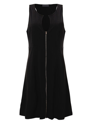 Sexy V Neck Zipper Sleeveless Solid Color Dress For Women