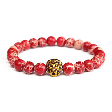 Retro Vintage Bracelet Red Jasper Gold Lion Beaded Bracelet