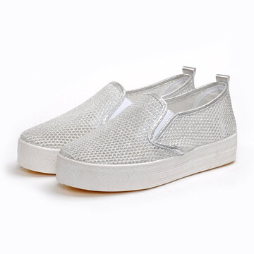 Mesh Breathable Shiny Casual Slip On Flat Loafers
