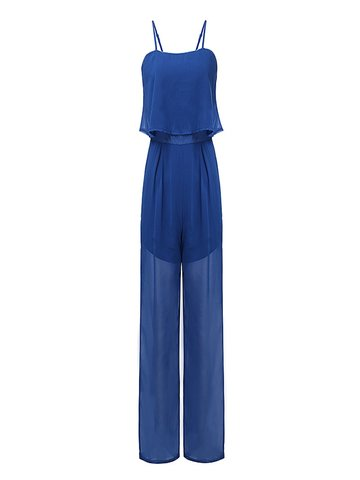 OL Sling Sleeveless Chiffon Solid Women  Jumpsuit