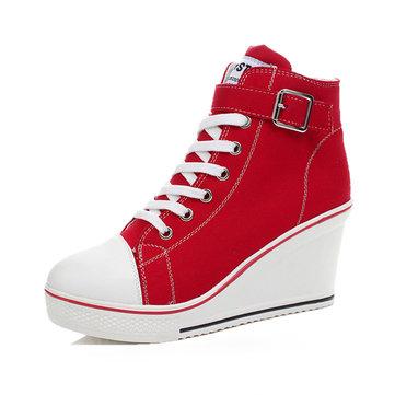 Большой размер холст корейский стиль зашнуровать пряжкой клина пятки повседневная обувь