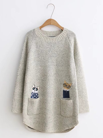 Casual Pockets Embroidery Long Sleeves Sweaters For Women