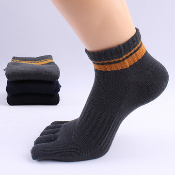 Mens Stripe Pattern Deodorant Breathable Sport Casual Cotton Five Toes Socks