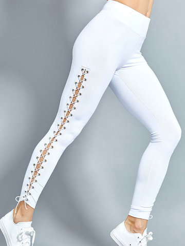 Casual Cross Strap Hollow Pure Color Mujer Deportes Leggings