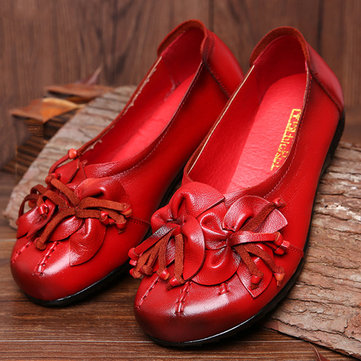 SOCOFY Flower Tassel Soft Leather Slip On Flat Casual Vintage Shoes