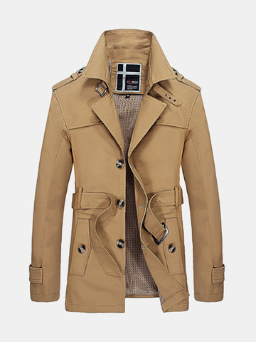 Spring Fall Mens Single-breasted Jacket With Belt Trench Coat Washed Cotton Outwear