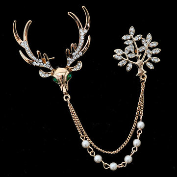 Luxury Unisex Brooch Crystal Deer Tree Artificial Pearl Gift Christmas Brooches