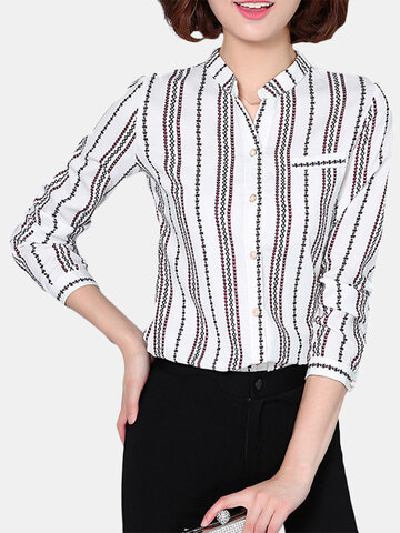 Elegant Women Striped Stand Collar Single Breasted T-shirt