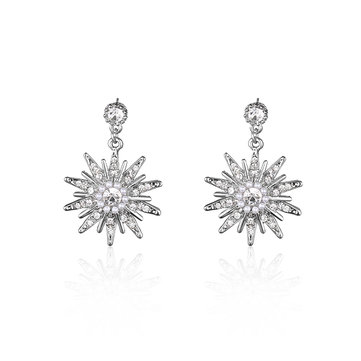 Luxury Pearl Earrings Snowflake Rhinestone Elegant Earrings
