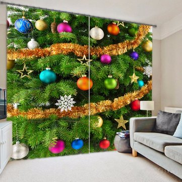 Buy 150x166CM Fashion Christmas Tree Ball Polyester Shower Curtain Bathroom Decor Hooks