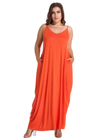 Bohemian Sexy V-Neck Strap Backless Solid Color Beach Maxi Dress For Women