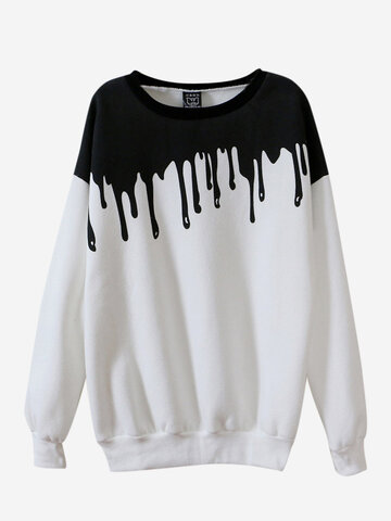 Casual Long Sleeve O Neck Printed Sweatshirt For Women