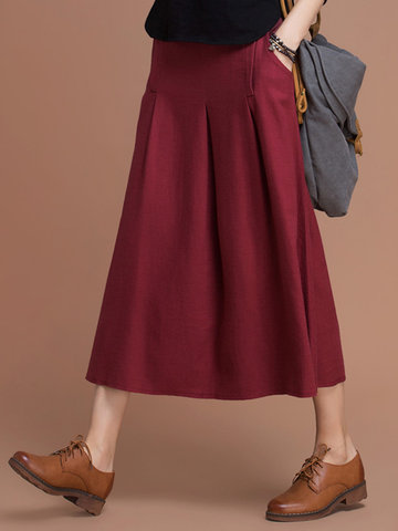 Vintage Women Pure Color High Waist Mid-Long Skirts